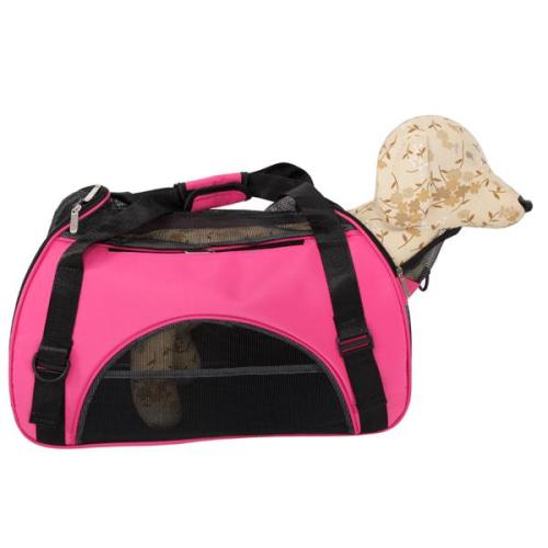 Hollow-out Portable Breathable Waterproof Pet Handbag Rose Red L