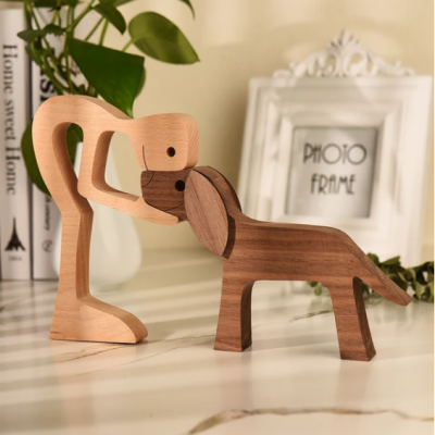 Mother's Day Promotion Pet lover gifts Wooden Dog Craft Figurine