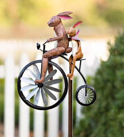 Garden Decor Frogs on a Vintage Bicycle