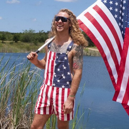 American Flag Unisex Overalls Shorts