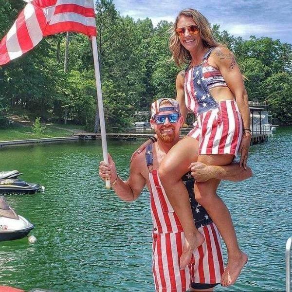 American Flag Unisex Overalls Shorts