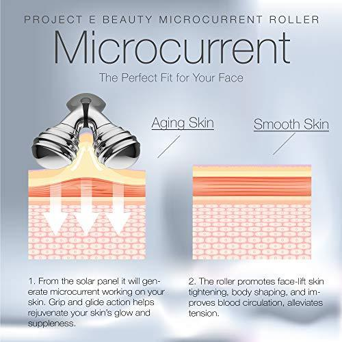 Microcurrent Facial Roller | Solar Microcurrent 3D Face Kneading Ball Roller Massager for V-shaped Facial Lift Skin Tightening Smooth Fine Lines
