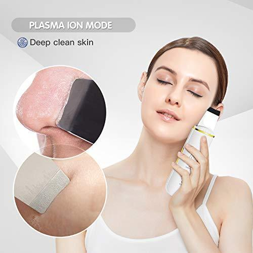 Skin Scrubber - Skin Spatula, Blackhead Remover Pore Cleaner with 4 Modes, Facial Scrubber Spatula, Comedones Extractor for Facial Deep Cleansing- 2 Silicone Covers Included