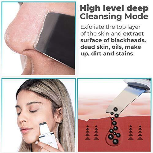 [New Version] 2019 Skin Scrubber by Larimar, Cordless Peeling Pore Cleanser, Facial Deep Cleansing Exfoliation Spatula Device, Blackhead & Dead Skin Remover, Face Lifting Treatment, Comedone Extractor