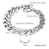 Fashion Polished Coin Stainless Steel Women Men Women Charm Bracelet Jewelry