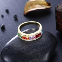 Delicate Beautiful Trendy Jewelry Rainbow Stone Multi Color Ring
