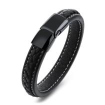 Factory Hot Seller Popular Fashion Jewelry Chain Men Black Leather Bracelet