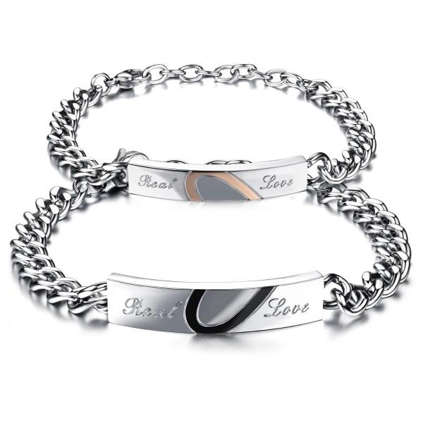 Factory Hot Seller Popular Fashion Women Jewelry Chain Heart Couple Bracelet