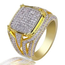 Exaggerated Punk Gold Large Square Two-tone Men Ring AAA CZ Zircon Jewelry