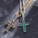 New Luxury Gold Plated Jewelry Two Color Zircon Cross Pendant Necklace