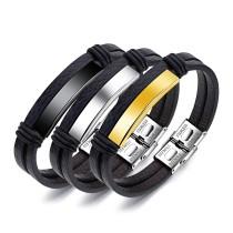 Factory Hot Seller Popular Fashion Jewelry Custom Logo Men Leather Bracelet
