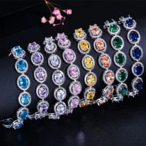 Luxury Fashion Alloy Oval Shape Halo Zirconia Colorful CZ Adjustable Chain Women Wedding Engagement Bracelet