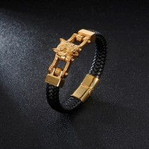 European and American Gold Plated Lion Head Locomotive Titanium Steel Men Bracelet