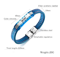 Trendy Shinning CZ Stainless Steel Leather Men Bracelet Jewelry