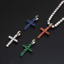 American Hip Hop Jewelry Christian Jesus Cross Hollow Pendant Diamond Cross Pendant Necklace Zircon