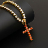 American Hip Hop Jewelry Christian Jesus Cross Hollow Pendant Diamond Cross Pendant Necklace Zircon