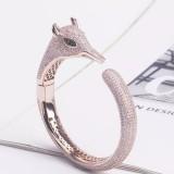 Hot Luxury Rose Gold Plated Brass And Zircon Animal Jewelry Fox Bangle