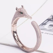 Hot Luxury Rose Gold Plated Brass And Zircon Animal Jewelry Fox Bangle