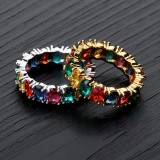 Ins Explosion Models Full Zircon Hip Hop Ring Rainbow Men Multicolor Ring