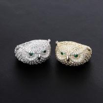 Hip Hop Trendy Green Eye Owl Gemstone True Gold Plating Ring Mens Ring