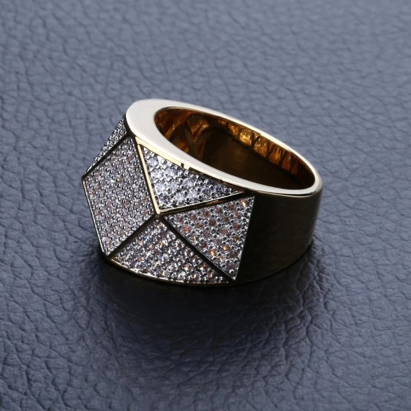 Explosive Polygonal Mens Ring Micro Inlaid Zircon Hipster Hip Hop Ring