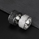 INS Explosion Hip Hop Mens Ring Full Zircon Pure Black Tide Brand Ring