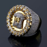 Hot Sale Hip Hop Jesus Head High End Micro Set Zircon Mens Large Ring 1 buyer