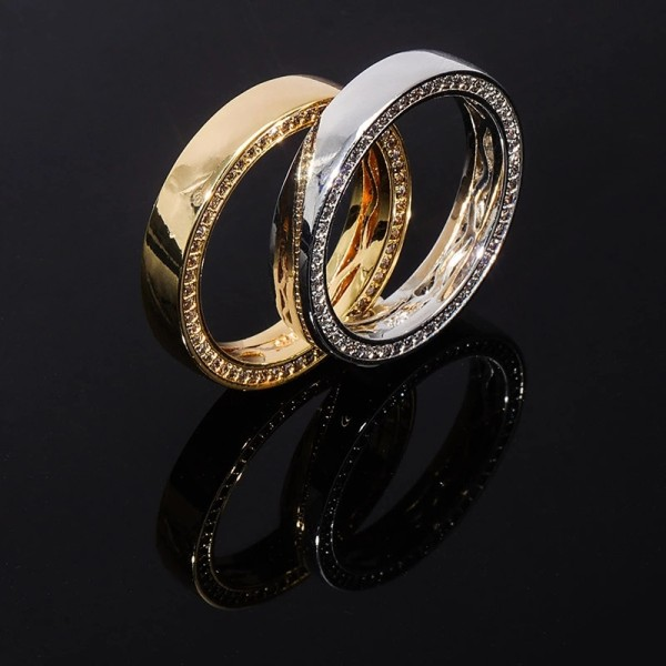 New Hip Hop S925 Sterling Silver Glossy Ring Micro-set Zircon Couple Ring