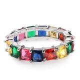 Ins Explosion Models Full Zircon Hip Hop Ring Rainbow Men Multicolor Ring