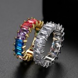 HipHop Colorful Zircon Copper Rainbow Ring Female Jewelry Wholesale