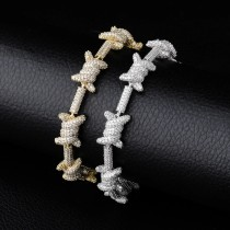 Personality Fashion Chain Barbed Wire Bracelet Full Of Zircon Jewelry Bracelet