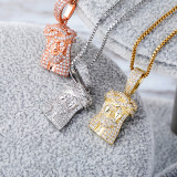 925 Sterling Silver Jesus Jewelry Full Of Zircon Pendant Hip-hop Female Necklace
