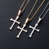 New Luxury Shiny Zircon Cross Pendant Blingbling Iced Out Jewelry