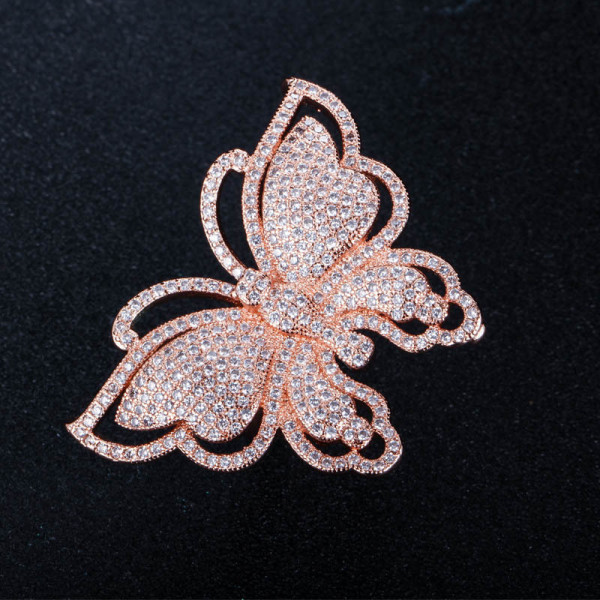 European and American Luxury Exaggerated Big Butterfly Ladies Silver Plated Zircon Ring