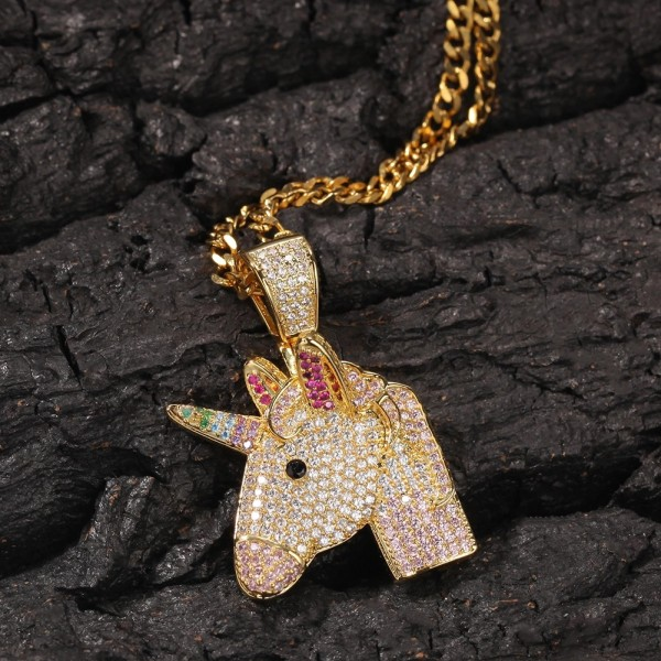 New Fantasy Unicorn Pendant Full Of Zircon Rainbow Pony Trendy Necklace
