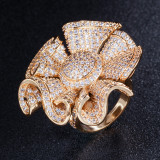 Factory Direct Sales Fully Inlaid Zircon Personality Wild Flower Woman Ring