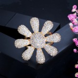 Hot Sale Luxury Exaggerated Zircon Gold Silver Sun Flower Ladies Ring