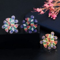 Fashionable 3A Color Zircon Flower Ring Adjustable Female Ring
