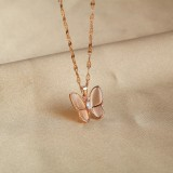 Fashion Stainless Steel Jewelry Stylish Dainty Rose Gold Plated Butterfly Necklace For Women and Girls