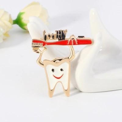 HOVANCI Exquisite Gift Cute Cartoon Enamel Teeth Healthy Dentist Brooch Oil Drip Toothbrush Pin Badge For Dentist Women
