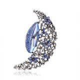 HOVANCI Unique Design Hollow Moon Shape Crystal Pin Elegant Rhinestone Crystal Moon Star Brooch Pin For Women