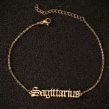 Fashion Personalized Horoscope Jewelry Stainless Steel Zodiac Anklet
