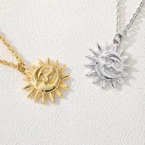 Latest Design Personalized Custom Women Stainless Steel Moon Sun Pendant Necklace