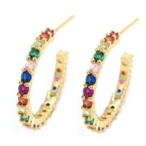 Fashion Shiny Colorful Rainbow Cubic Zircon Pave Hoop Earring