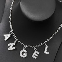 Wholesale Small Initial Name Letter Necklace, Initial Necklace Stainless Steel Jewelry