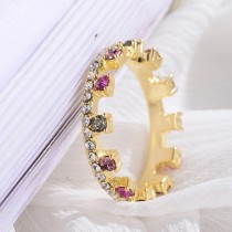 Fashion Crown Gold Plated Women's Rings Cubic Zircon Finger Colorful Stone Rainbow Ring Factory Price Wholesale