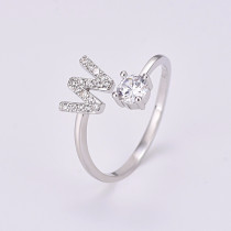 26 Letters Open Finger Rings For Women Zircon Rings Engagement Wedding Promise Ring Accessories Jewelry OEM Silver