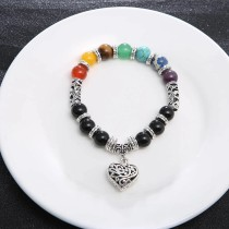 Fashion 7 Chakra Colorful Stone Healing Bracelet Matte Agate Charm Heart Gemstone Bracelet With Lowest Factory Price