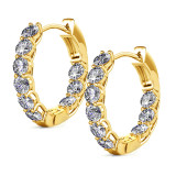 Fashion Circle Shaped Hoop Earrings 18k Gold Plated For Women With Crystal Jewelry