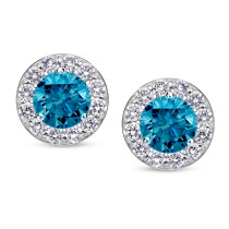 Fashion 925 Sterling Silver Stud Earring For Women Jewelry Round Shape Blue Diamond